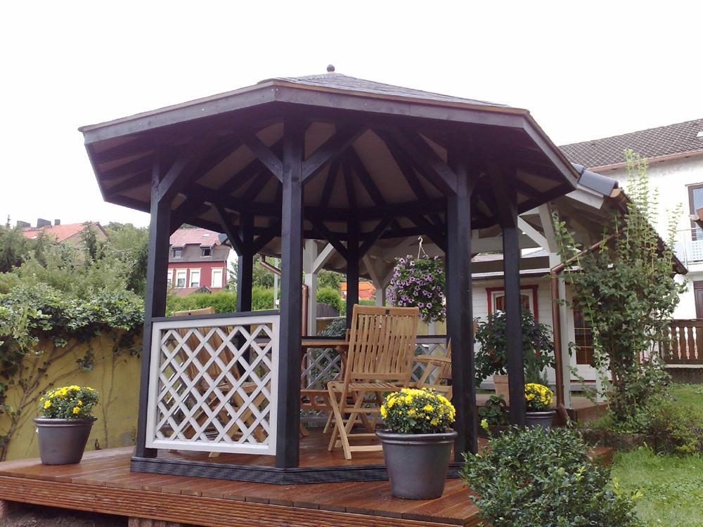 8 eck pavillon offen karst holzhaus. Black Bedroom Furniture Sets. Home Design Ideas