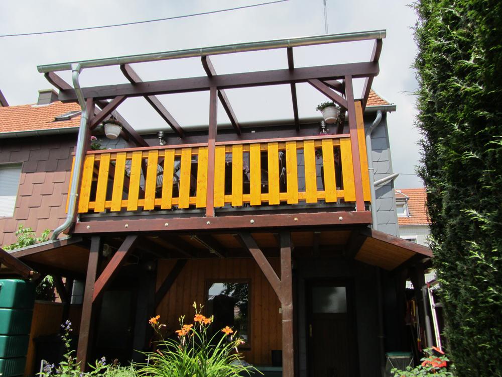 Bekannt Überdachter Balkon mit Heatstop Doppelstegplatten   Karst Holzhaus DR16